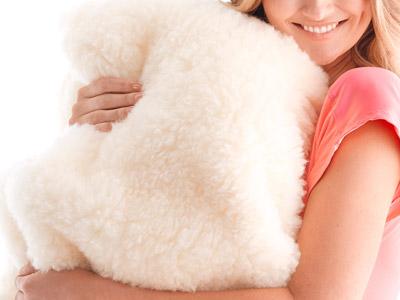 Woman holding wool fleece